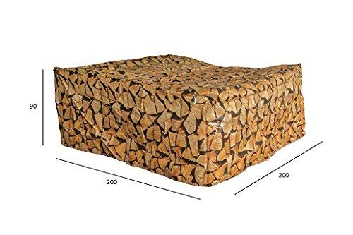 Luxus Schützhülle für Gartenmöbel-Set 180 cm , Schutzabdeckung mit einzigartigem Brennholz Druck, Schwerlast 220 gr/m2 günstig bestellen