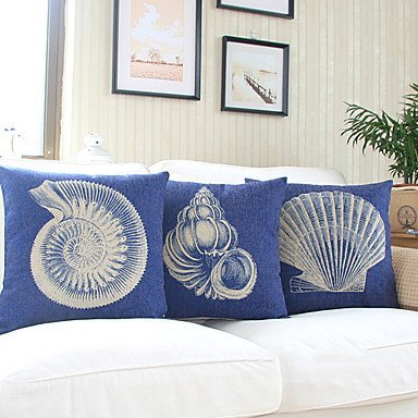 【Bailand】Set of 3 Nautical Sea Side Theme Cotton/Linen Decorative Pillow Cover