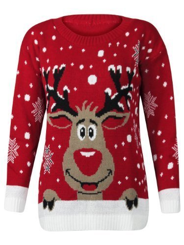 Ladies Mens Unisex Novelty Christmas Jumper Knitted Festive Sweater Funny Cheesey Xmas Gift - Red Rudolph Reindeer - M/L