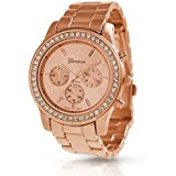 Geneva Rose Gold Plated Classic Round CZ Stainless Steel Back Ladies Boyfriend Watch
