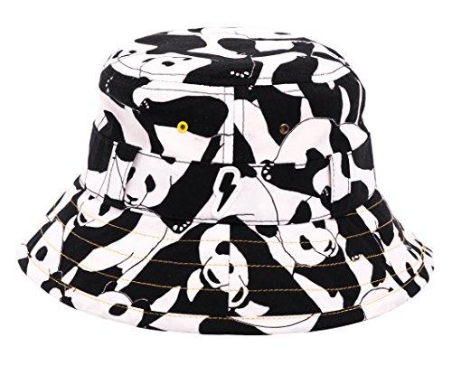 Bambini Bucket Sunhat: Adventurer. Premiata cotone stampa Sunhat con protezione UV nero Black and White 12 - 18 mesi