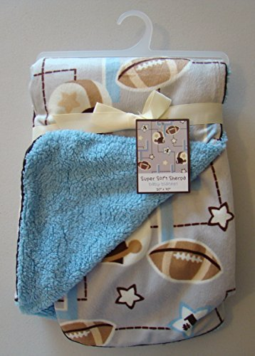 "Super Soft Sherpa Baby Boy Blanket Football Themed Blue 30""x40"""