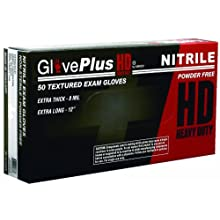 Ammex GlovePlus HD Exam Grade Heavy Duty Nitrile Glove, Powder Free, 12&#034; Length, 4 mils Thick