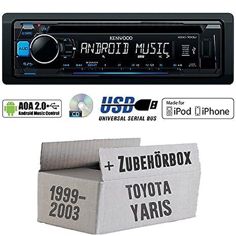 Toyota Yaris P1 1999-2003 - Kenwood KDC-100UB - CD/MP3/USB iPod/Android-Steuerung Autoradio - Einbauset