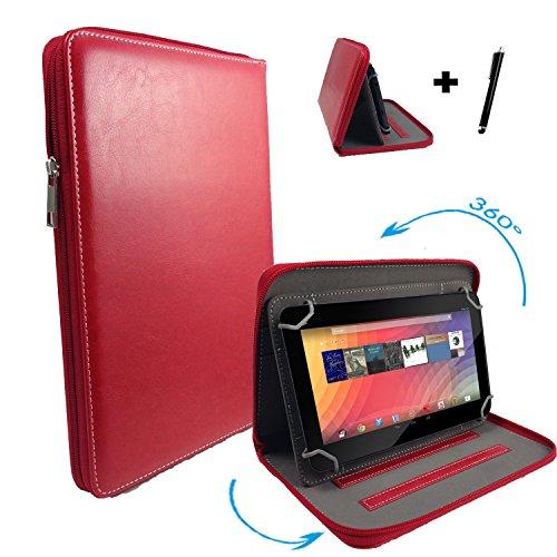 "Huawei MediaPad 10 FHD 3G 25,4 cm / 10.1 "" Tablet Pc Tasche mit 360 grad Drehfunktion - 10 Zoll Rot 360° Reißverschluss"