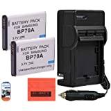 Pack Of 2 BP-70A, BP70A Batteries And Battery Charger for Samsung DV150F, ES65, ES70, ES80, MV800, PL120, PL170, PL20, PL200, PL80, SL50, SL600, SL605, SL630, ST65, ST66, ST80, ST90, ST95, ST100, ST150F, ST700, TL105, TL110, TL205, WB30F, WB35F, WB50F Digital Camera + More!!