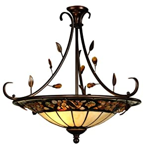 Dale Tiffany TH90227 Pebblestone Inverted Pendant Light , Antique Golden Sand and Art Glass Shade