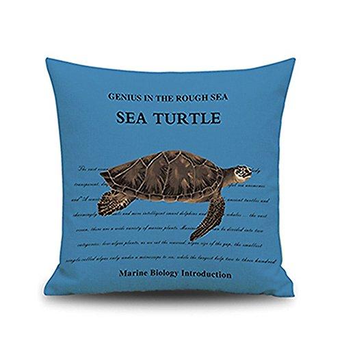 Ever Love® blau Mediterraner Stil Baumwolle Leinen-Mischgewebe Seestern Meer Schildkröte Shark Hippocampus Muster Tiere Dekoratives Kissen Fall 45,7x 45,7cm, Baumwolle / Leinen, blau, Style 2