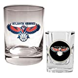 Atlanta Hawks NBA Rocks Glass &amp; Square Shot Glass Set - Primary Logo