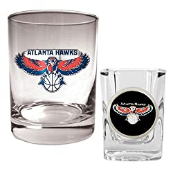 Atlanta Hawks NBA Rocks Glass & Square Shot Glass Set - Primary Logo