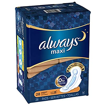 Always Maxi Pads Overnight with Flexi-Wings Unscented, 28 Count (Pack of 2)