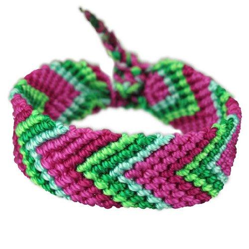Jewellery of Lords Pink Fuchsia Blue & Green Handmade Macrame Knotted Nylon Wide Chevron Woven Friendship Bracelet Wrap