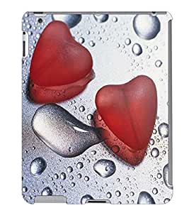 Fuson 3D Printed Water Drops with Roes Petals Designer Back Case Cover for Apple iPad 4 - D1057