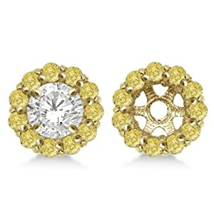 Round Fancy Yellow Diamond Earring Jackets for 6mm Diamond Studs 14K Yellow Gold 0.80cw