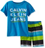Calvin Klein Boys 2-7 2 Piece Tee With Striped Short, Blue, 2T