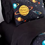 Veratex Bedding Collection Rocket Star Solid Sheet Set, Black, Twin Size