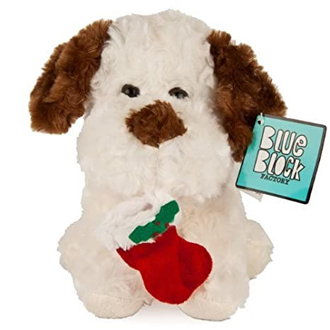 "Blue Block Factory - Christmas Theme Huggable Stuffed Puppy Animal Doll White, Brown, with Red Stocking Sock 9"" Tall by Blue Block Factory TOY (English Manual)"