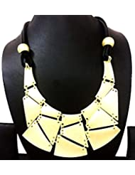 BID4DESIRE ALL GOLDEN PLATES MATTE FINISH NECKLACE FOR WOMEN