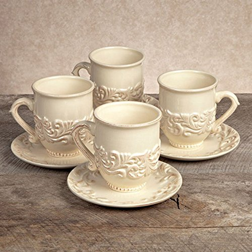 Ceramic Cup and Saucer, GG Collection - Cream - Set of 4