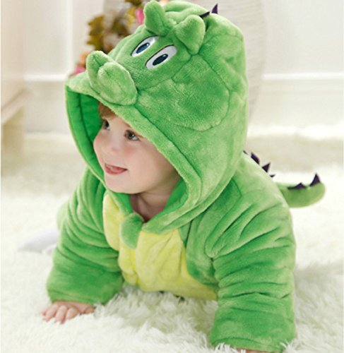 恐竜 赤ちゃん ベビー着ぐるみ カバーオール 動物 アニマル xjsmooth もこもこ ふわふわ 中綿 暖かい 防寒 パジャマ 出産祝い 小さいサイズ 2wayジッパー フード付き