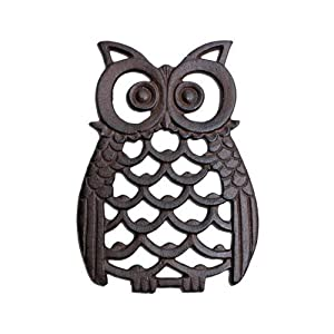 Cast Iron Owl Wall Art Ornament for Garden Home in Antique Finish by Gardens2you