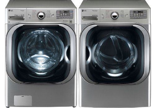 LG Graphite 5.1 Cu Ft Front Load Steam Washer and 9.0 Cu Ft Steam Electric Dryer set WM8000HVA DLEX8000V