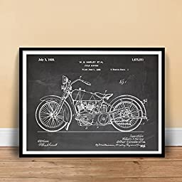 HARLEY DAVIDSON 1928 MOTORCYCLE POSTER BLACKBOARD US Patent Poster Print 18x24 HD Vintage H-D Reproduction Gift Unframed