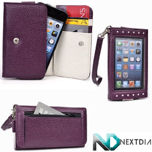 Smartphone Wallet Wristlet fits Unnecto Tap with Exposed Screen to View Alerts and credit card holder |Puple Plum and Earl Grey + NextDia Velcro Strap