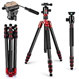 Neewer Carbon Fiber Tripod Monopod 63 inches/160 centimeters with 360 Degree Ball Head, Fluid Video Head, 1/4-inch Quick Shoe Plate and Bag for DSLR Camera,Video Camcorder up to 33 pounds/15 kilograms (Color: black, Tamaño: 19.2 x 9.2 x 5.3 inches)
