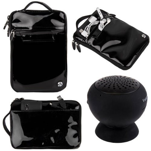 "(Black) Vangoddy Hydei Patent Leather Bag Case For Monster M7 7"" Tablet + Black Vangoddy Suction Stand Bluetooth Speaker"