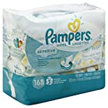 Pampers Wipes, Sensitive, Travel Packs 3 packs [168 wipes]