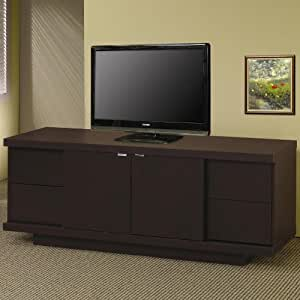 Tv stand media console with drawers and shelves in cappuccino finish home Home theater furniture amazon