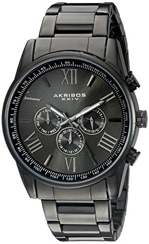 akribos-xxiv-mens-three-hand-quartz-watch-with-round-grey-dial-analogue-display-and-black-bracelet-a