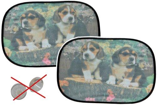 2 tlg. Set Sonnenschutz Hund - hällt OHNE Saugnapf - für Seitenscheibe Sonnenblende für Kinder Auto Baby Seitenfenster Beagle