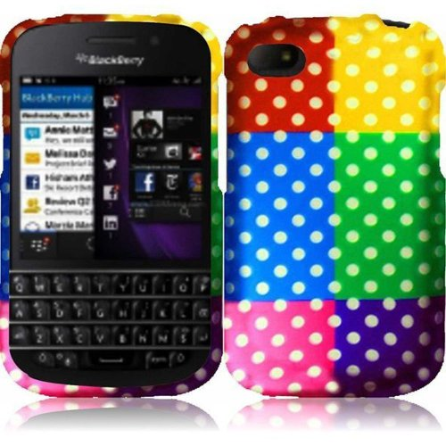 Cell Accessories For Less (Tm) For Blackberry Q10 Rubberized Design Cover Case - Colorful Polka // Free Shipping By Thetargetbuys
