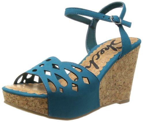 Skechers Flirty Womens Wedge Sandals Teal 6 front-353031