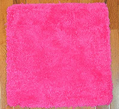 Dean Lavish Shaggy Carpet Tile Squares/Shag Rug - Pink with Peel and Stick Backing