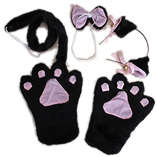 Black Cat Cosplay Anime Fancy Costume Paw Ear Headband Tail Tie Gloves