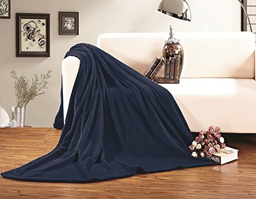 Elegant Comfort® Ultra Super Soft Fleece Plush Luxury Blanket All Sizes King/Cal King Navy Blue