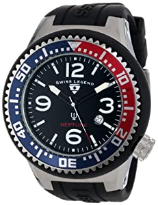 Swiss Legend Men's 21818P-01-RBL Neptune Collection Stainless Steel Black Rubber Watch
