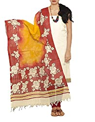 Unnati Silks Women Unstitched cream-red pure Andhra khadi cotton salwar kamiz dress material