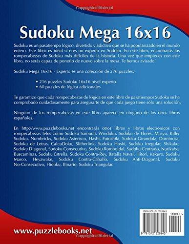Sudoku Mega 16x16 - Experto - Volumen 33 - 276 Puzzles: Volume 33