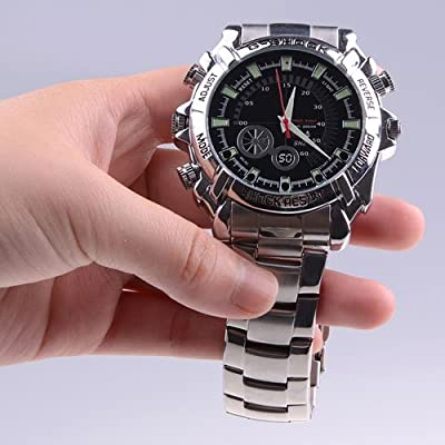 Men's Infrared HD 1080P Waterproof Watch Video Camera / 30fps Digital Videokamera Kamera Photo Image Sound Voice Recording Store Shop Compact Professional Handheld Pokcet Latest Newest Gadget Trendy Black Gift Cheap Movie Videocam Cam Action Sport Invisib