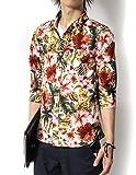 (リピード) REPIDO シャツ メンズ 七分袖シャツ カジュアルシャツ 花柄シャツ アロハシャツ ブロードシャツ 総柄シャツ フラワープリント 七分袖花柄シャツ A.ホワイト Mサイズ