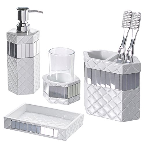 Quilted Mirror Bathroom Accessories Set, 4-Piece Includes Lotion Dispenser, Toothbrush Holder, Tumbler & Soap Dish - Decorative Bathroom Gift Set, Best Gift Package- Great Christmas Gifts