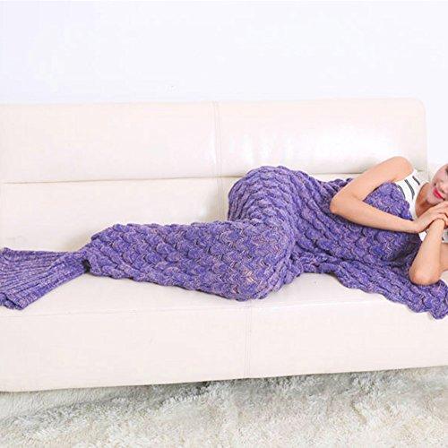 All Seasons handgemachte gestrickte Mermaid Schwanz Decke, weich und warm Decke gestrickte Häkeln Schlafsack in Schlafsofa Wohnzimmer für Erwachsene und Kinder (Adult Violet)