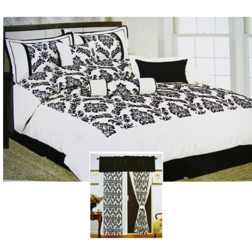Avalon 7pcs Ensemble Bedding Set - Queen Size Complete Bed Set w/ 2 Window Draps (9cpcs Total)