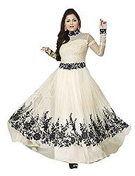 MAHAVIR FASHION Women's White Georgette Anarkali Type Long Unstitched Salwar suit Dress Material(DRESS_213_Freesize_W Kali)