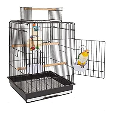 Sturdy Classy Black Bird Cage - Makes A Happy Home For Your Cockatiel, Conure or Small Parrot- 2 Internal Wooden Perches And Open Top Perch For Free Roaming