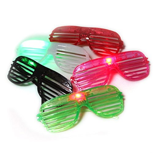 12 Pairs of LED Flashing Light Up Party Glasses Shades